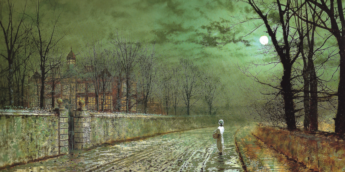 "John Atkinson Grimshaw ""A Moonlit Evening"" (1880)"