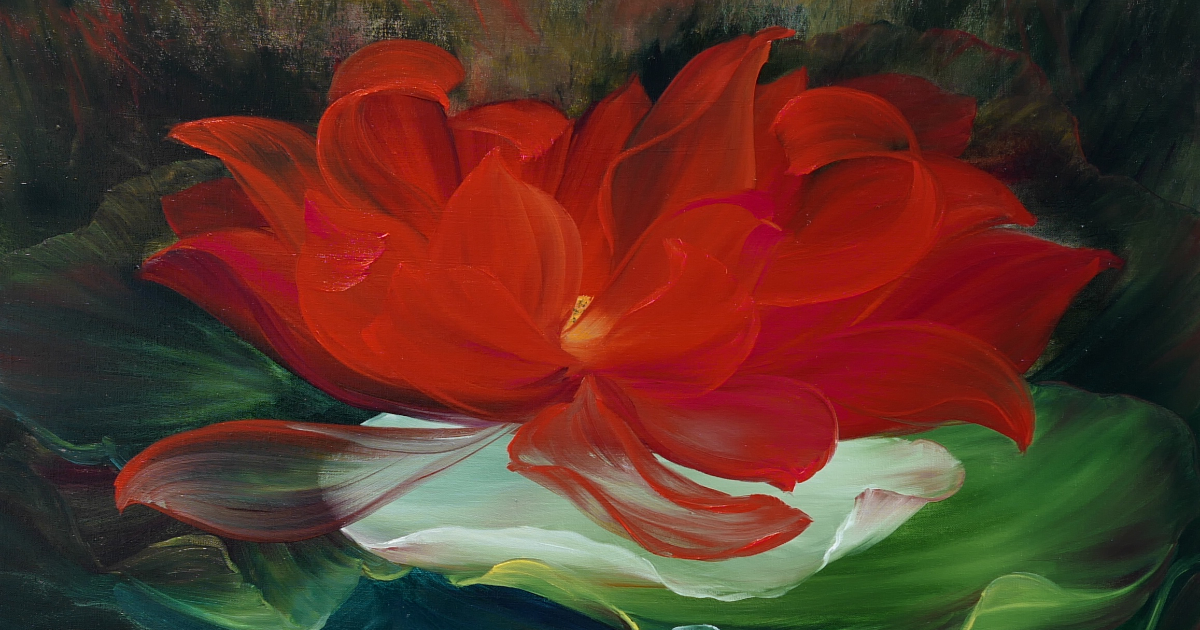 "Linh Tran ""Red Lotus – The Flower of Compassion and Passion"" (Acryl und Öl auf Leinwand, 2017)"