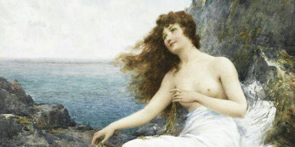 "Alfred Augustus Glendending ""A sea maiden resting on a rocky shore"" (1897)"